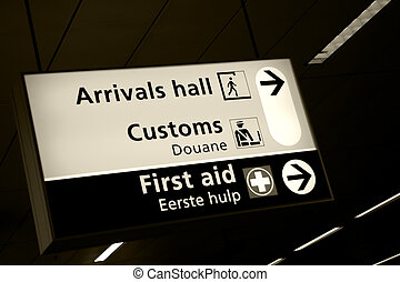Shiphol airport - Directional sign in arrivals hall of...