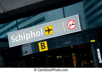 Shiphol international airport - Terminal B entrance of...