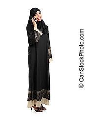 debout, arabe, femme, conversation, téléphone