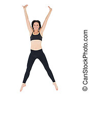 Sporty young woman jumping over white background