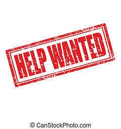 Help Wanted-stamp - Grunge rubber stamp with text Help...