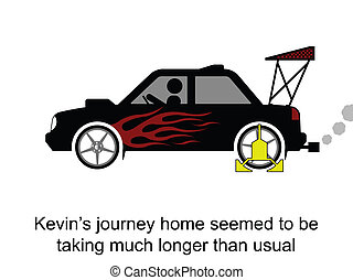 Driving Home - Kevin and his slow journey home cartoon...
