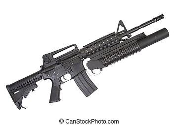 un, M4A1, carbine, equipado, M203, granada, Lanzador
