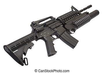 An assault rifle equipped with grenade launcher