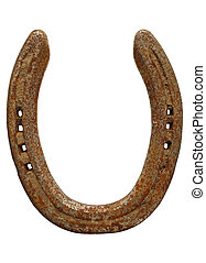 Old rusty lucky horseshoe isolated on a white background