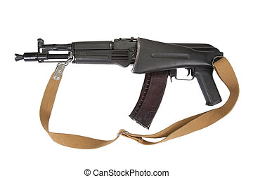 modern AK assault rifle on white