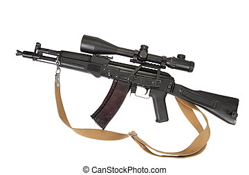 modern assault rifle with telescopic sight on white