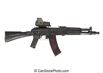 modern assault rifle with sight on white