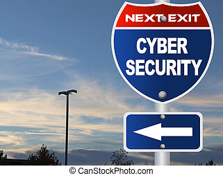 Cyber security road sign
