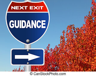 Guidance road sign