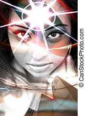 Woman of the City - An abstract montage of a beautiful woman...