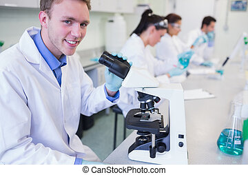 Researchers working on experiments