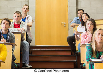 Students sitting at the lecture hall - Concentrating...