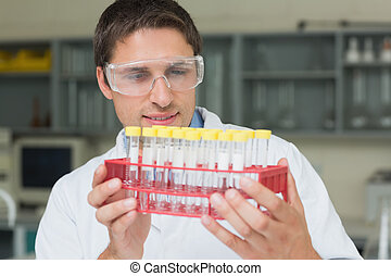 Male researcher  looking at test tubes in the lab