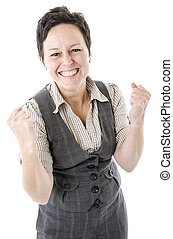 business woman celebrating success on white background
