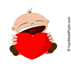 Heart - Cartoon character holding a heart with place for any...