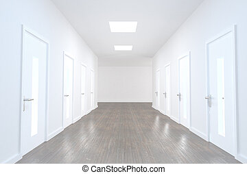 Bright hallway with several doors and wooden floor