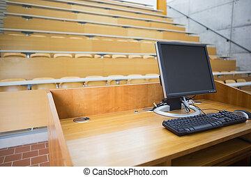 computadora, monitor, vacío, Asientos