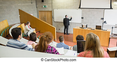 Male teacher with students at the lecture hall - Rear view...