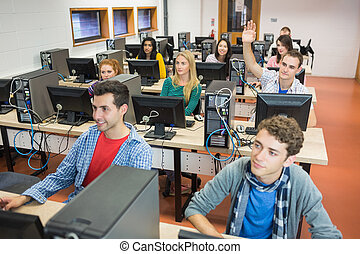 Students in the college computer room