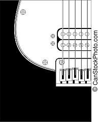 black and white guitar detail