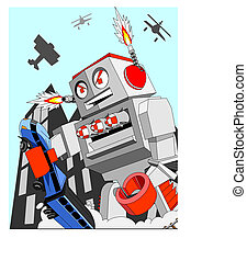 when giant toys go bad - giant toy robot attacks the city...