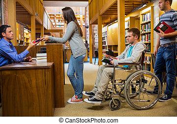 estudantes, Limitou, homem, fila, biblioteca, contador