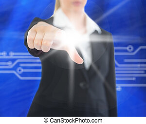 Composite image of businesswoman pointing on screen -...