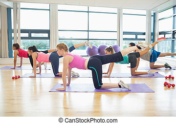 Women stretching on mats at yoga class - Side view of women...