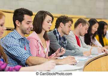 Students writing notes in a row at the lecture hall - Side...