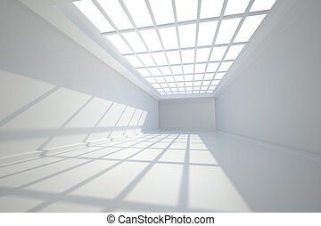 Room with windows at ceiling - White room with windows at...