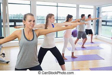 瑜伽, 運動, 人們, 伸展, 手, 類別