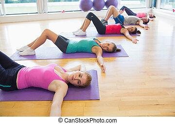 蓆子, 工作室, 練習, 健身, 類別, 躺, 行
