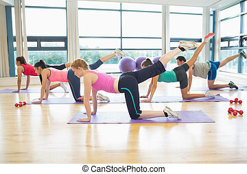 Side view of women stretching on mats at yoga class in...