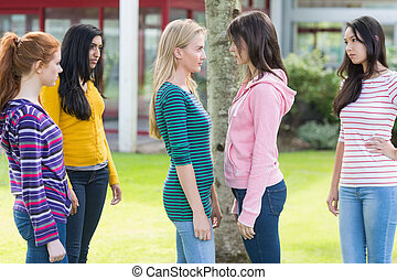 Friends watching college girls having a conflict in park -...