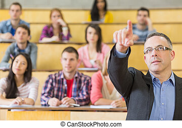 Elegant teacher and students at the college lecture hall -...