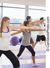 瑜伽, 運動, 人們, 手, 伸展, 工作室, 健身, 類別