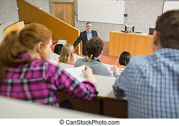 Teacher with students at the lecture hall - Elegant teacher...