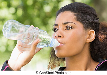 Close up of a tired woman drinking - Close up of a tired...