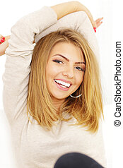 Portrait of young cheerful beautiful woman
