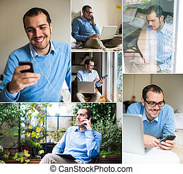 man using technological devices at home - collage of man...