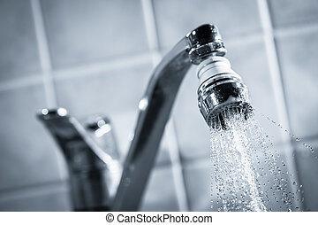Water consumption - Open faucet, water is running, tinted...