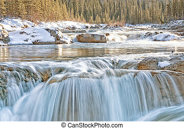 Winter at Elbow Falls - Elbow Falls in winter with golden...