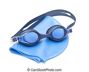 Blue swimming cap and goggles