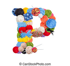 Letter P made of knitting yarn isolated on white background
