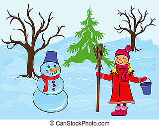 Child girl and snowman in wintertime