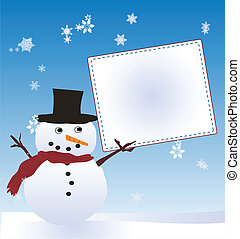 Snow Man with Message Board - A traditional snow man holding...