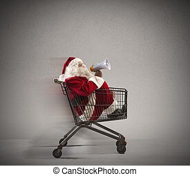 Fast Santa Claus announcement in a shopping cart