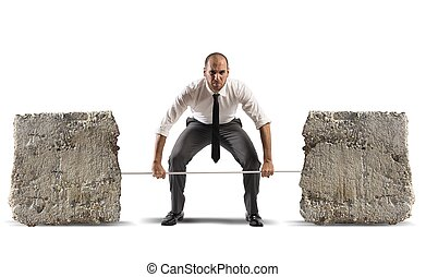 Difficult business - Athlete business man with barbell and...