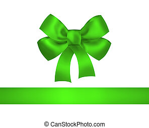 Green bow and ribbon isolated on white background Closeup...